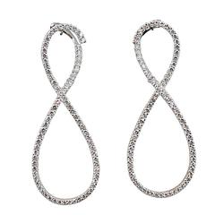 Jona Infinity White Diamond 18K White Gold Drop Earrings