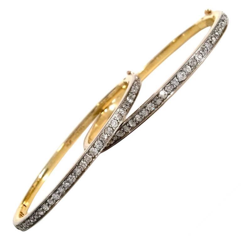 Pair of Diamond Gold Platinum Bangle Bracelets