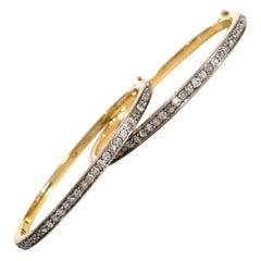 Pair of Antique Diamond Gold Platinum Bangle Bracelets