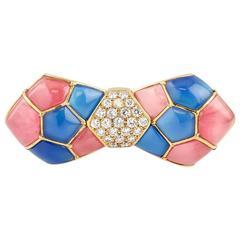 Van Cleef & Arpels Chalcedony Rhodochrosite Diamond Gold Bow Brooch