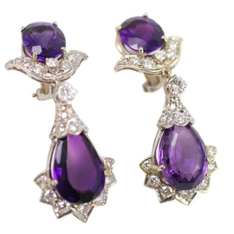 Royal Amethyst Diamond Gold Drop Earrings