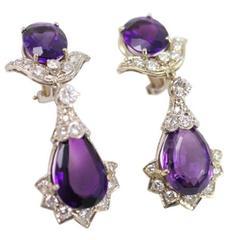Royal Amethyst Diamond Gold Drop Earrings