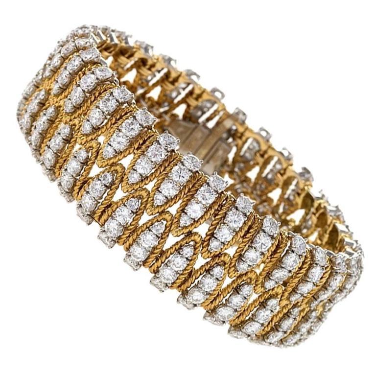 1960s Diamond, Platinum and Gold Bracelet