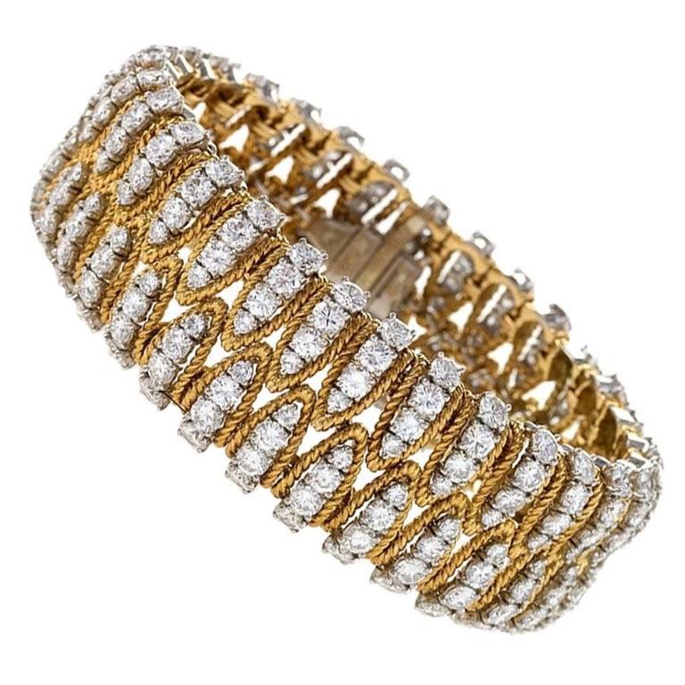 Flexible Gold and Diamond Bracelet  For Sale