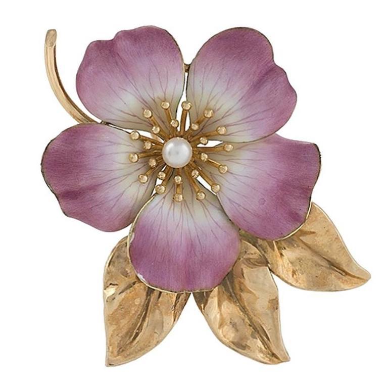 Hedges & Co. Art Nouveau Pearl, Gold and Enamel Flower Brooch 1