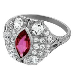 1920's Art Deco Ruby, Diamond and Platinum Ring