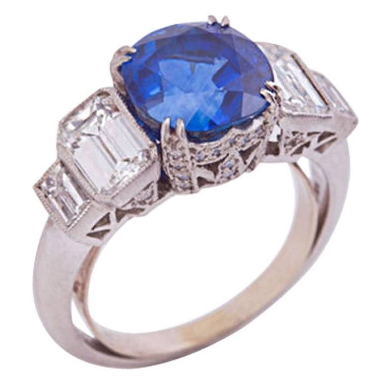 GIA Certified 4.04 Carat Vivid Ceylon Sapphire Diamond Platinum Engagement Ring