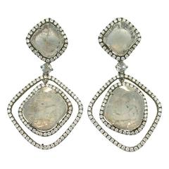 Jona White Diamond Grey Slice Diamond 18 Karat White Gold Dangle Earrings