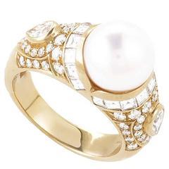 Bulgari Pearl Diamond Gold Ring
