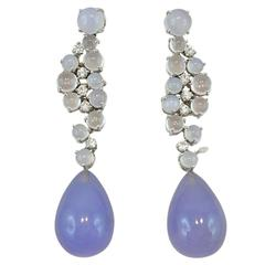Jona Chalcedony Moonstone 18k White Gold Drop Earrings