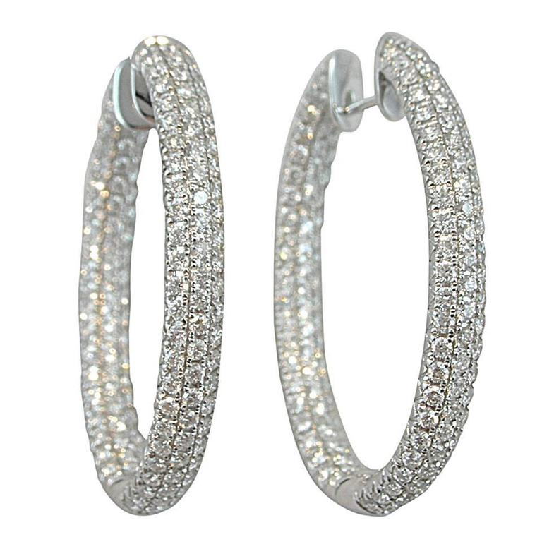 Jona White Diamond 18 Karat Gold Inside Out Pavé Hoop Earrings For