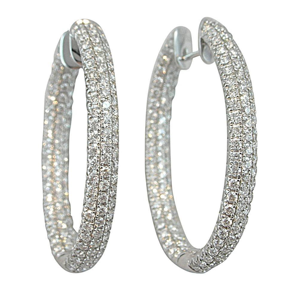 Jona White Diamond 18 Karat Gold Inside Out Pavé Hoop Earrings For At 1stdibs