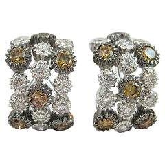 Jona Brown and White Diamond 18 Karat White Gold Clip-on Earrings