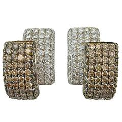 Jona White and Brown Diamond 18 Karat White Gold Ear Clips