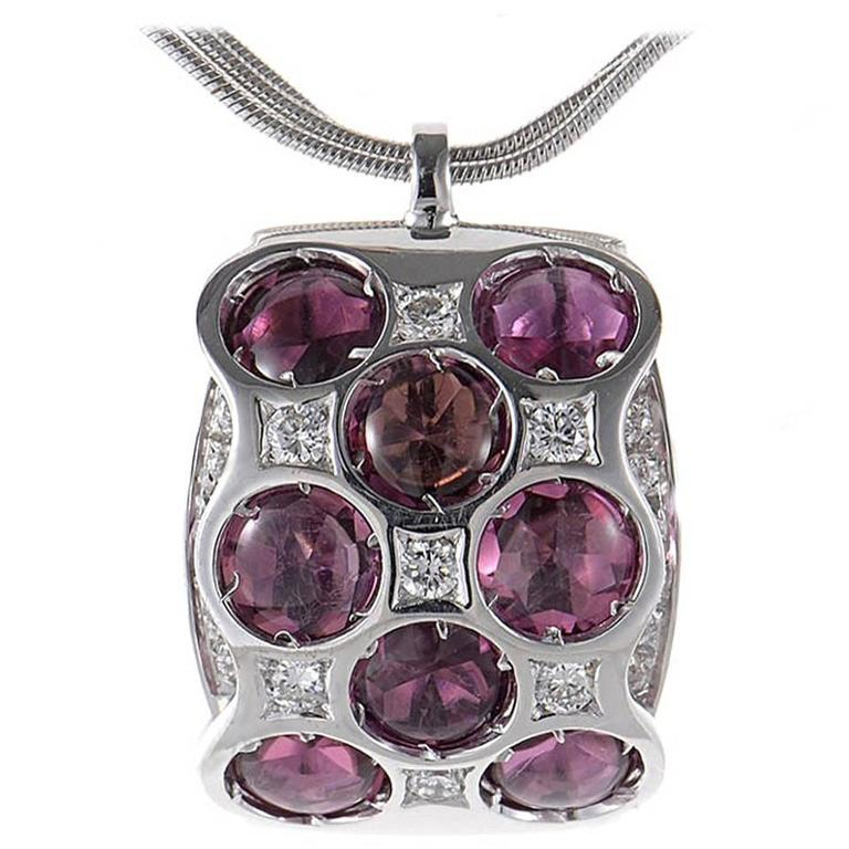 Bibigi Purple Tourmaline Gold Pendant Necklace