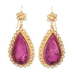 Dramatic Carved Rubelite Diamond Gold Drop Earrings
