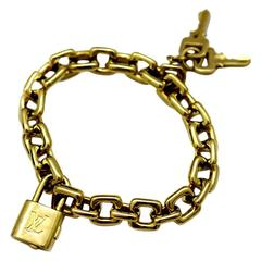 Louis Vuitton Padlock and Key Gold Charm Bracelet