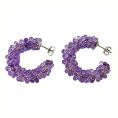 Jona Amethyst 18 Karat White Gold Hoop Earrings