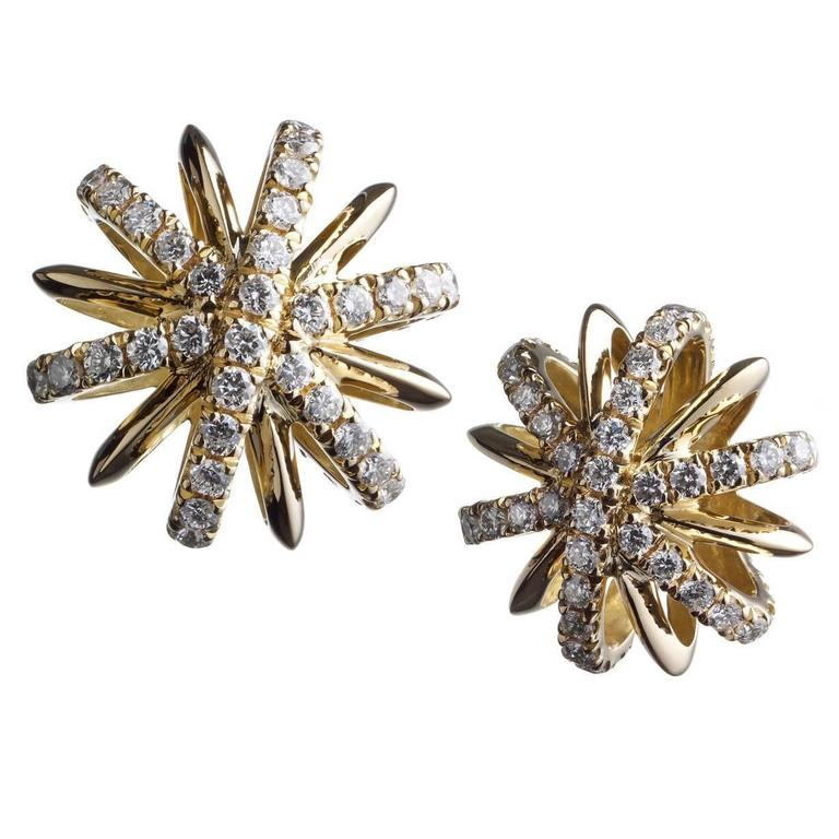 Alexandra Mor Diamond Gold Snowflake Earrings