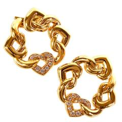 Bulgari Doppio Cuore Diamond Gold Earrings