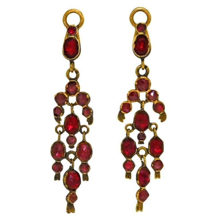Gorgeous 19th Century French Garnet Gold Chandelier Earrings 2