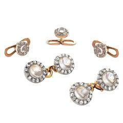 Edwardian Moonstone Diamond Gold Platinum Dress Set