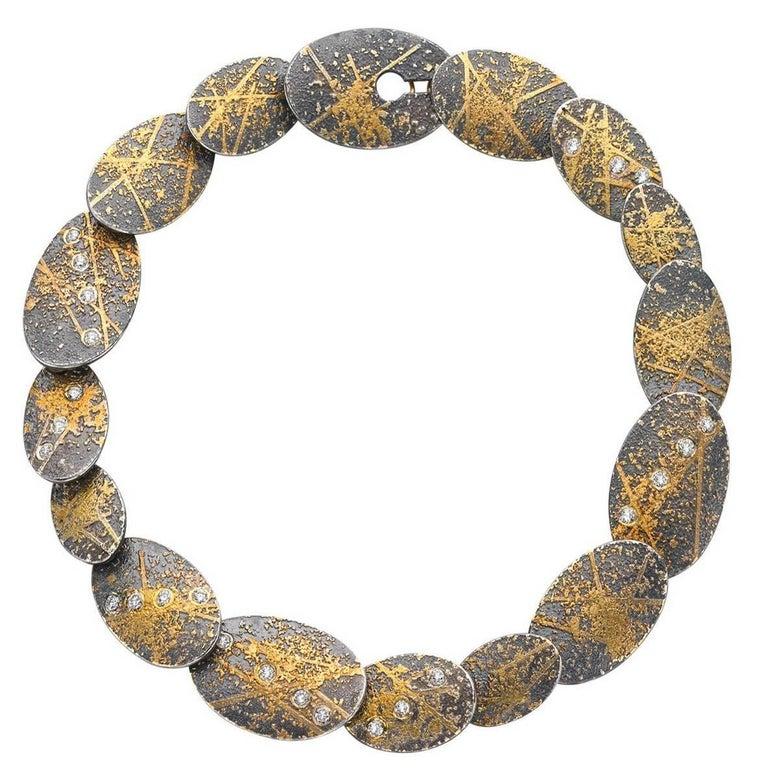 Atelier Zobel White Diamond Gold Oxidized Silver Handmade Oval Links Bracelet For Sale