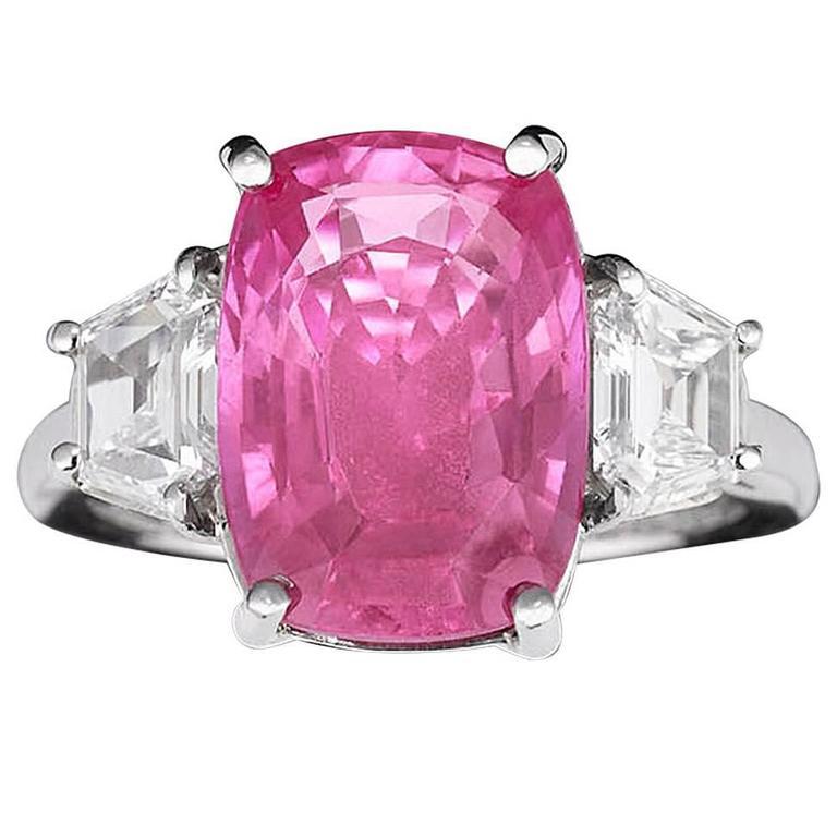 7.67 Carat Pink Sapphire Diamond Ring