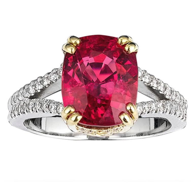 Spinel Diamond Gold Platinum Ring 1