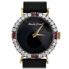 Bueche Girod Lady's Yellow Gold Diamond Ruby Wristwatch