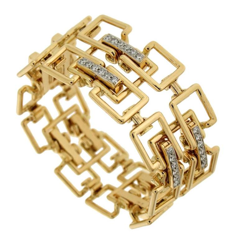 Diamond Gold Square Link Bracelet