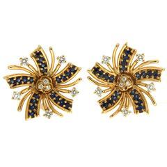 Valentin Magro Viva el Sol Sapphire Diamond Gold Earrings