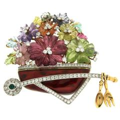 Carved Flower Gemstone Gold Platinum Wheelbarrow Brooch