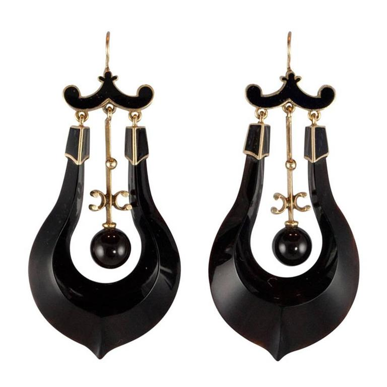 Victorian Black Enamel Onyx Gold Earrings