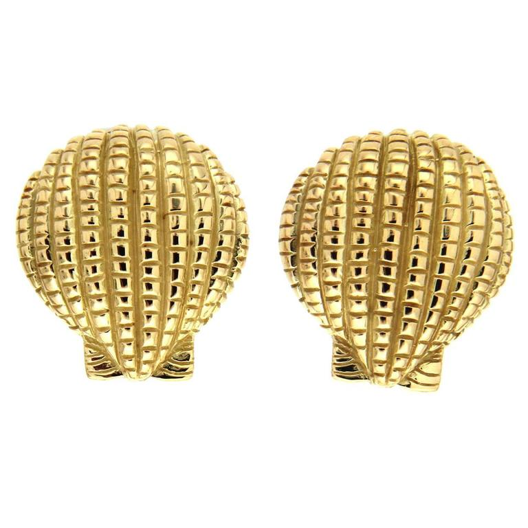 Gold Scallop Shell Earrings