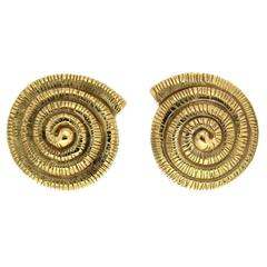Gold Nautilus Shell Earrings