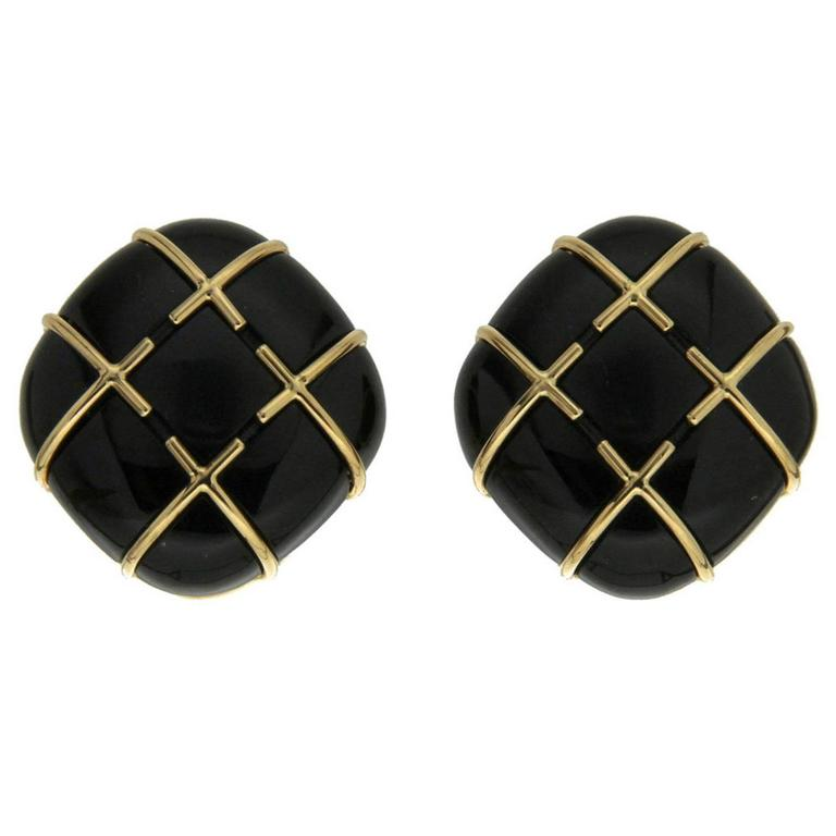 Black Jade Gold Tic Tac Toe Earrings 1