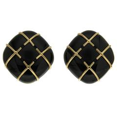 Black Jade Gold Tic Tac Toe Earrings