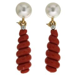 Freshwater Pearl Diamond Spiral Red Coral Drop Earrings