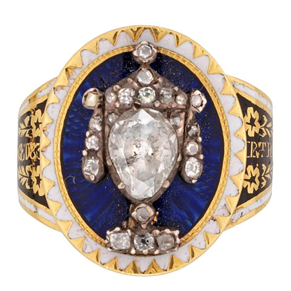 Fine Georgian Blue Enamel Diamond Urn Ring For Sale At 1stdibs