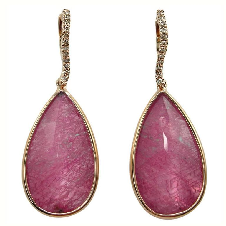 Jona Morganite Quartz Brown Diamond 18k Rose Gold Drop Earrings For Sale