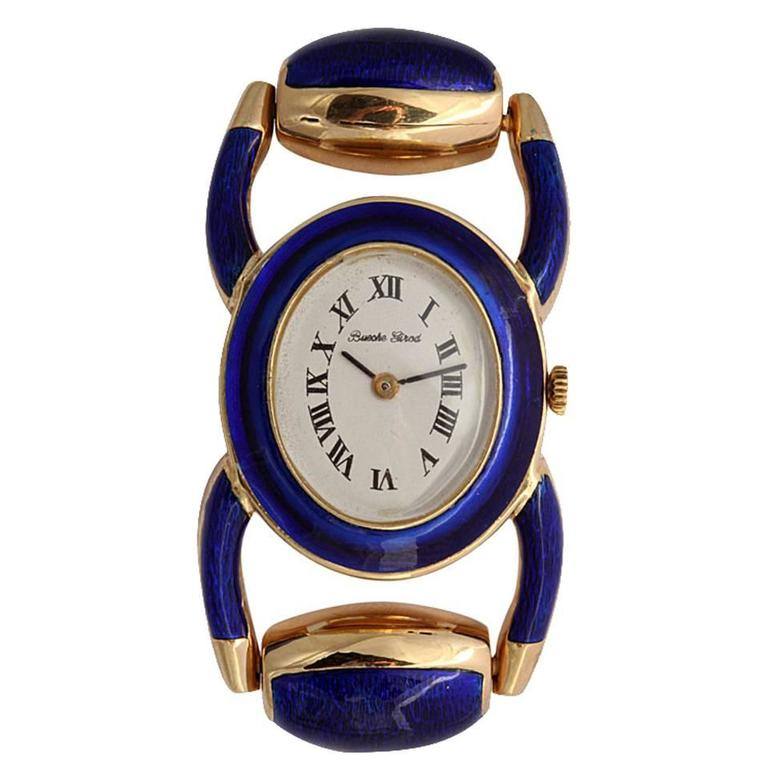 Bueche Girod Ladies Yellow Gold Enamel Stirrup Bracelet Quartz Wristwatch