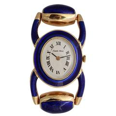 Bueche Girod Ladies Yellow Gold Enamel Stirrup Bracelet Quartz Wristwatch