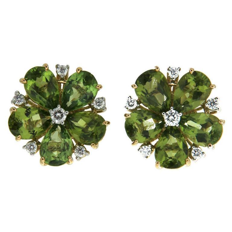 Peridot Diamond Gold Cluster Earrings