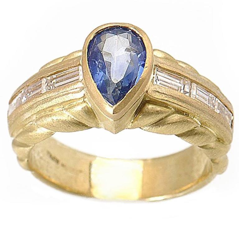 Judith Ripka Sapphire Diamond Gold Ring