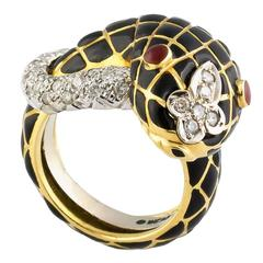 David Webb Enamel Diamond Gold Platinum Snake Ring