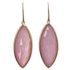 Jona Morganite Quartz 18 Karat Gold Drop Earrings