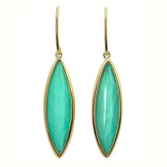 Jona Turquoise Quartz 18 Karat Yellow Gold Dangle Earrings