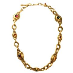 Kieselstein Cord Multi-Gem Cabochon Heavy Gold Link Necklace