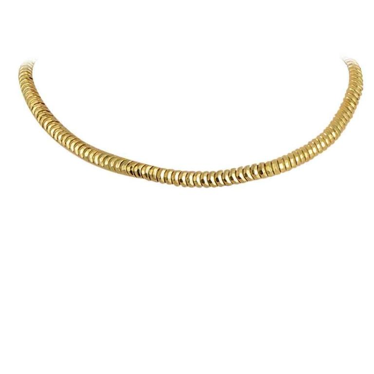 Henry Dunay Hammered Facets Gold Collar Necklace